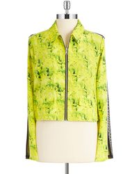 Andrew Marc Silk Zip Up Blouse - Lyst