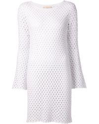 Michael Kors Open Knit Shift Dress - Lyst