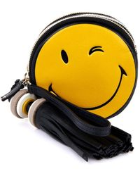 Anya Hindmarch Smiley Hadlow Leather Clutch - Lyst