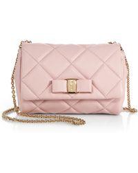 Ferragamo Mini Ginny Quilted-Leather Crossbody Bag - Lyst