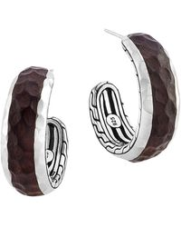 John Hardy Palu Silver  Rosewood Small Hoop Earrings - Lyst