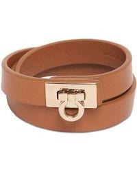 Ferragamo - Gancini Logo Leather Double Row Bracelet - Lyst