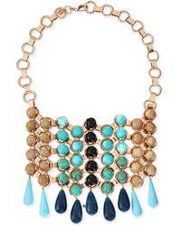 Dannijo Medine Rose Golden Turquoise Bib Necklace - Lyst