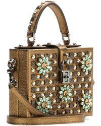 Dolce & Gabbana Embellished Leather Box Clutch - Lyst