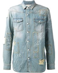 Off-White Distressed Denim Shirt - Lyst