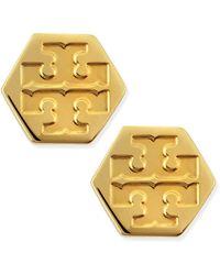 Tory Burch Hexagon Logo Stud Earrings Golden - Lyst