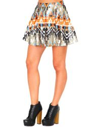 Missguided Belle Premium Aztec Print Sequin Skirt - Lyst