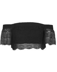 Topshop Scallop Lace Bardot Top - Lyst