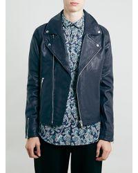 Topman Navy Leather Biker Jacket* - Lyst