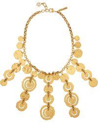 Oscar de la Renta Hammered Gold-Plated Necklace - Lyst