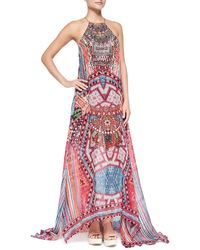 Camilla Beaded Printed Silk Maxi Coverup Dress - Lyst