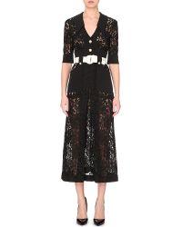 Alessandra Rich Semi-Sheer Lace Dress - For Women black - Lyst