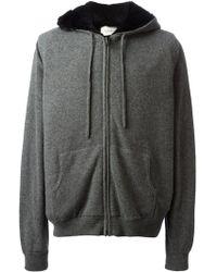 Yves Salomon Fur Lining Zipped Hoodie - Lyst