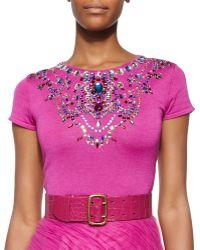 Ralph Lauren Collection Jeweled Short-Sleeve Cashmere-Blend Top - Lyst