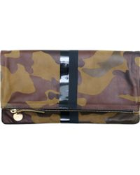 Clare Vivier Foldover Clutch in Green Camo with 2 Black Stripes - Lyst