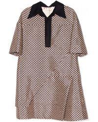 Marni Coffee Mid Sleeve Dress brown - Lyst