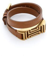 Tory Burch For Fitbit Fret Double Wrap Bracelet - Bark/Aged Gold - Lyst