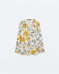 Zara Yellow Printed Blouse - Lyst