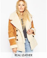 ASOS | Suede Shearling Coat In 70's Styling | Lyst