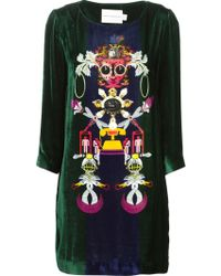 Mary Katrantzou 'Elio' Shift Velvet Dress - Lyst