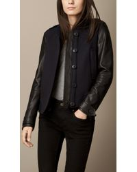 Burberry Lambskin Sleeve Wool Blend Bomber Jacket - Lyst