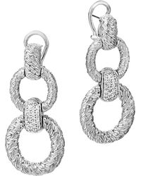 John Hardy Classic Chain Diamond Circle Drop Earrings - Lyst