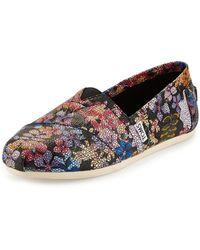 Toms Floral-print Crackled Slip-on - Lyst