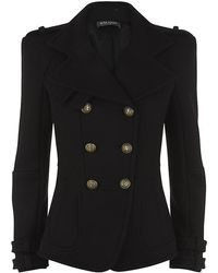 Balmain Wool Pea Coat - Lyst