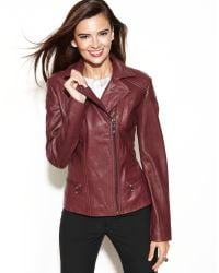 Anne Klein Asymmetrical Quilted Leather Jacket - Lyst