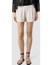 AllSaints Obel Shorts beige - Lyst