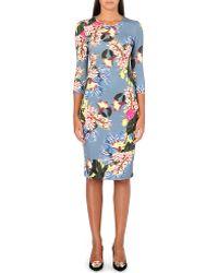 Erdem Allegra Floralprint Jersey Dress Slatemulti - Lyst