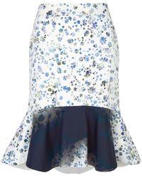 Preen Morgan Ruffle White Flower Skirt - Lyst