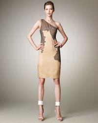 J. Mendel Lace-Detail One-Shoulder Dress - Lyst