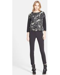 Moncler Three-Quarter Sleeve Print Sweater black - Lyst