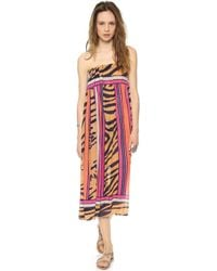 Theodora & Callum Mombasa Maxi Skirt Tube Dress Mombasa Navy Multi