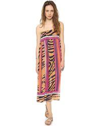 Theodora & Callum Mombasa Maxi Skirt Tube Dress Mombasa Navy Multi - Lyst