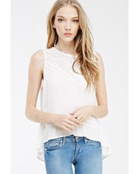 Forever 21 Lace-Paneled Split Back Top - Lyst