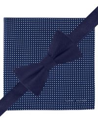 Tommy Hilfiger Solid Bow Tie  Pindot Pocket Square Set - Lyst