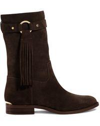 Michael Kors Rhea Fringe Suede Ankle Boot - Lyst