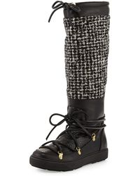 Moncler Isabelle Python  Tweed Knee Boot - Lyst