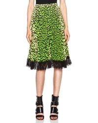 Christopher Kane Leopard Printed Poly Skirt - Lyst