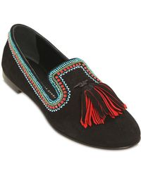 Giuseppe Zanotti 10Mm Embellished Suede Loafers - Lyst