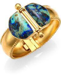 A Peace Treaty - Loki Azurite Malachite Double Dome Hinged Bracelet - Lyst