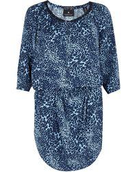 Maison Scotch Blue Printed Belted Dress - Lyst
