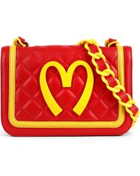 Moschino Medium Quilted Leather Shoulder Bag Red Yellow - Lyst