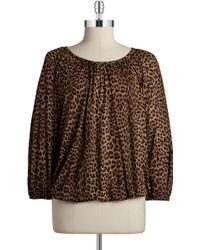 MICHAEL Michael Kors Petite Leopard Print Top - Lyst