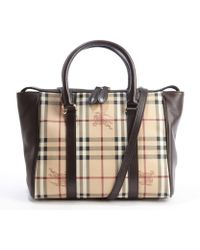 Burberry Chocolate Coated Canvas and Leather Haymarket Medium Chatton Tote - Lyst