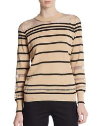 3.1 Phillip Lim Sheer Yoke Metallic Striped Sweater - Lyst