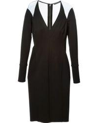 Donna Karan New York Sheer Panel V-neck Dress - Lyst