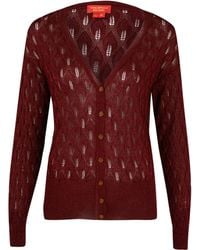 Vivienne Westwood Red Label - Red Lurex Pointelle Knit Cardigan - Lyst